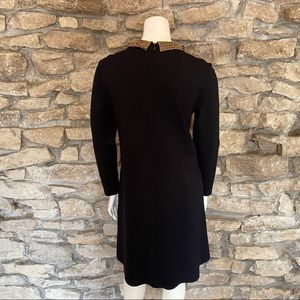 J. McLaughlin Dresses - J.McLaughlin Black Dress wLeopard Collar Size S